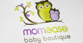 Logo Design. Momease Baby Boutique is a boutique retailer at Mattick's Farm that specializes in innovative, modern and functional baby gear and parenting accessories.